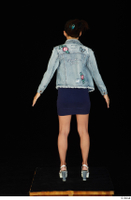 Shrima blue dress dressed jeans jacket standing white sandals whole body 0005.jpg