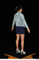 Shrima blue dress dressed jeans jacket standing white sandals whole body 0006.jpg