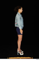 Shrima blue dress dressed jeans jacket standing white sandals whole body 0007.jpg
