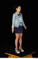 Shrima blue dress dressed jeans jacket standing white sandals whole body 0008.jpg