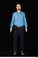 Gruffydd black shoes black trousers blue shirt dressed standing whole body 0001.jpg