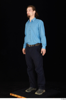Gruffydd black shoes black trousers blue shirt dressed standing whole body 0002.jpg