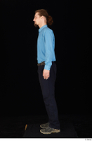 Gruffydd black shoes black trousers blue shirt dressed standing whole body 0003.jpg