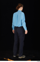 Gruffydd black shoes black trousers blue shirt dressed standing whole body 0006.jpg