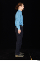 Gruffydd black shoes black trousers blue shirt dressed standing whole body 0007.jpg