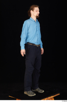 Gruffydd black shoes black trousers blue shirt dressed standing whole body 0008.jpg