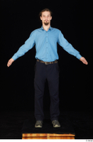Gruffydd arm black shoes black trousers blue shirt dressed standing whole body 0001.jpg