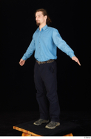 Gruffydd black shoes black trousers blue shirt dressed standing whole body 0009.jpg
