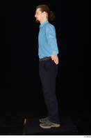 Gruffydd black shoes black trousers blue shirt dressed standing whole body 0010.jpg