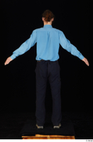Gruffydd black shoes black trousers blue shirt dressed standing whole body 0012.jpg