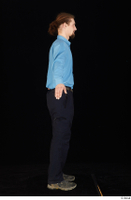 Gruffydd black shoes black trousers blue shirt dressed standing whole body 0014.jpg