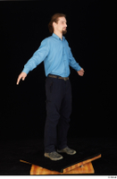 Gruffydd black shoes black trousers blue shirt dressed standing whole body 0015.jpg