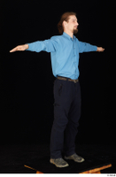 Gruffydd black shoes black trousers blue shirt dressed standing t poses whole body 0008.jpg