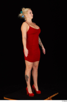 Jarushka Ross dressed red dress red high heels standing whole body 0008.jpg