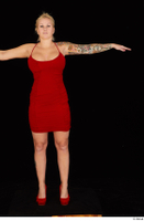 Jarushka Ross dressed red dress red high heels standing t poses whole body 0001.jpg