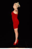 Jarushka Ross dressed red dress red high heels standing t poses whole body 0003.jpg