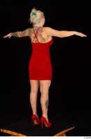 Jarushka Ross dressed red dress red high heels standing t poses whole body 0006.jpg