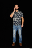 Orest blue jeans blue shirt brown shoes calling casual dressed standing whole body 0001.jpg