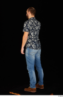 Orest blue jeans blue shirt brown shoes calling casual dressed standing whole body 0004.jpg