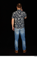 Orest blue jeans blue shirt brown shoes calling casual dressed standing whole body 0005.jpg