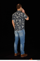 Orest blue jeans blue shirt brown shoes calling casual dressed standing whole body 0006.jpg