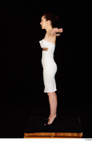 Rania black high heels dressed formal standing t poses white dress whole body 0003.jpg