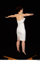 Rania black high heels dressed formal standing t poses white dress whole body 0006.jpg