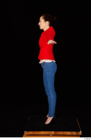 Rania black high heels blue jeans calling casual dressed pink top red jacket standing t poses whole body 0003.jpg