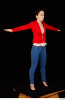 Rania black high heels blue jeans calling casual dressed pink top red jacket standing t poses whole body 0008.jpg