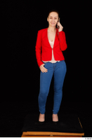Rania black high heels blue jeans calling casual dressed phone pink top red jacket standing whole body 0001.jpg
