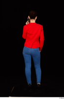 Rania black high heels blue jeans calling casual dressed phone pink top red jacket standing whole body 0005.jpg