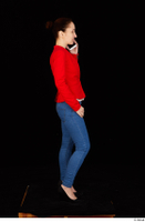 Rania black high heels blue jeans calling casual dressed phone pink top red jacket standing whole body 0007.jpg