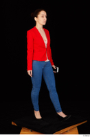 Rania black high heels blue jeans casual dressed phone pink top red jacket walking whole body 0008.jpg