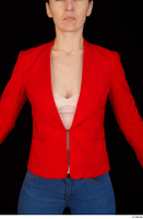 Rania casual dressed pink top red jacket upper body 0001.jpg