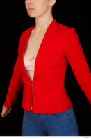 Rania casual dressed pink top red jacket upper body 0002.jpg
