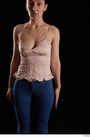 Rania  1 arm dressed flexing front view pink top 0001.jpg