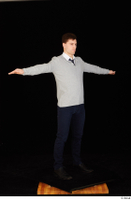Tomas Salek black shoes blue trousers business clothing dressed grey sweater standing t-pose tie white t shirt whole body 0008.jpg