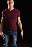 Tomas Salek  1 arm dressed flexing front view red t shirt 0001.jpg