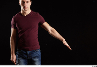 Tomas Salek  1 arm dressed flexing front view red t shirt 0002.jpg