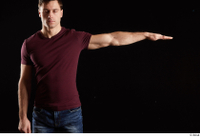 Tomas Salek  1 arm dressed flexing front view red t shirt 0003.jpg