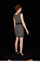 Violet black high heels business clothing dressed grey dress standing whole body 0006.jpg