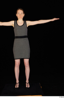 Violet black high heels business clothing dressed grey dress standing t-pose whole body 0001.jpg