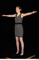 Violet black high heels business clothing dressed grey dress standing t-pose whole body 0002.jpg