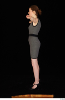 Violet black high heels business clothing dressed grey dress standing t-pose whole body 0003.jpg