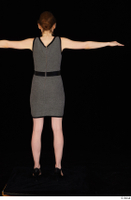 Violet black high heels business clothing dressed grey dress standing t-pose whole body 0005.jpg