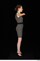 Violet black high heels business clothing dressed grey dress standing t-pose whole body 0007.jpg