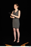 Violet black high heels clothing dressed grey dress standing whole body 0002.jpg