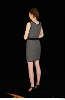 Violet black high heels clothing dressed grey dress standing whole body 0004.jpg