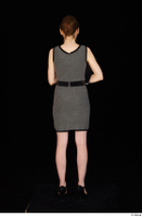 Violet black high heels clothing dressed grey dress standing whole body 0005.jpg