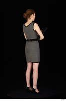 Violet black high heels clothing dressed grey dress standing whole body 0006.jpg